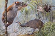 Koala Lemur, two Sloth Lemurs, and Elephant Bird