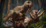 Dinosauria-t-rex-vs-triceratops-premium-art-print-feature-500556-1