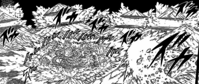 Madara Uchiha destroys six moutains while fighting Hashirama with Susanoo-clad Kurama