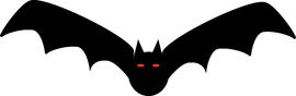 111-Free-Halloween-Clipart-Illustration-Of-Black-Bat-With-Red-Demon-Eyes