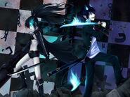 Konachan.com - 113609 ao no exorcist black hair black rock shooter blue eyes crossover kuroi mato okumura rin sword weapon