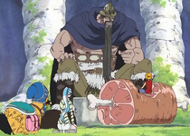 Luffy, Vivi, and Carue Dining with Dorry