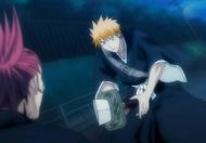 Ichigo's sword is sliced