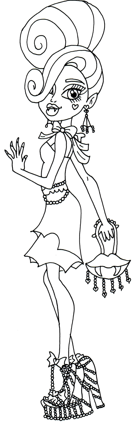Frights Camera Action Draculaura Monster High Coloring Page