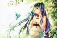 Konachan-com-181530-animal-aqua eyes-aqua hair-bird-choker-dress-hatsune miku-leaves-long hair-scan-tidsean-tree-twintails-vocaloid