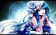 Blue vocaloid dress flowers hatsune miku blue eyes leaves long hair blue hair pillows lying down ope www.wallpaperhi.com 65