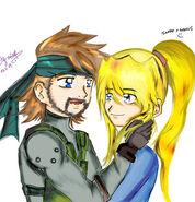 Snake and samus by princessxzelda