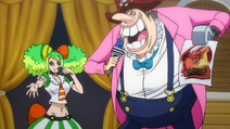 Ann and Donald Moderate explaining Viso Viso Fruit (One Piece Stampede)