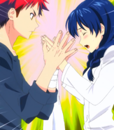 Soma slaps Megumi's Hands Stitched Cap (Food Wars Ep 11)