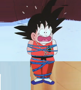Kid goku tied up in blue ropes18