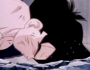 Gohan fells to ground dead and defeated after being killed by turles in plan to eadacte the saiyans4