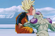 Frieza punchs goten in the stomach