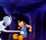 Frieza punchs gt kid goku in the stomach
