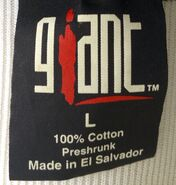 Giant merchandising shirt tag