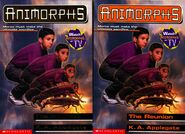 Animorphs 30 the reunion two front covers regular and scholastic edition