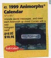 Animorphs 1999 calendar advertised in scholastic book orders
