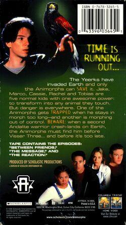 Animorphs US VHS tape Part 2 back cover Nowhere to Run