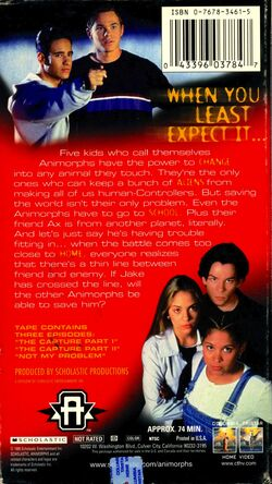 Animorphs US VHS tape Part 4 back cover The Legacy Survives