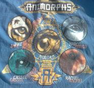 Blue circle shirt graphic closeup