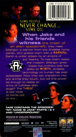 Animorphs US VHS tape Part 1 back cover The Invasion Begins