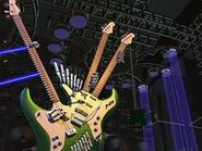 The 3-necked electric guitar next to the chorus beams