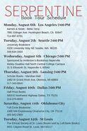 Serpentine book tour schedule