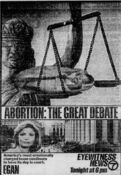 WABC Channel 7 Eyewitness News 6PM - Abortion, The Great Debate - Tonight promo for November 4, 1985