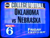 ABC Sports - College Football On ABC - Oklahoma Vs. Nebraska - Friday promo with WPVI-TV Philadelphia id bug for November 24, 1995