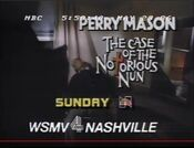 NBC Network - Perry Mason, The Case Of The Notorious Nun - Sunday promo with WSMV-TV Nashville byline for May 25, 1986