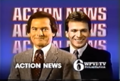 WPVI Channel 6 Action News 6PM & 11PM Weekend - Rob Jennings And Gary Papa ident - late 1986