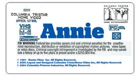 Annie 2004 VHS Label