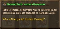 Dented holy water dispenser