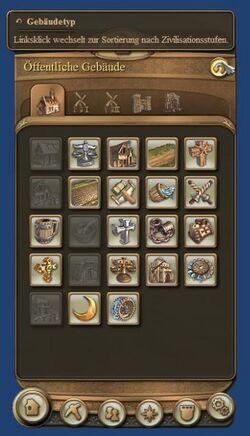Building menu is adjustable