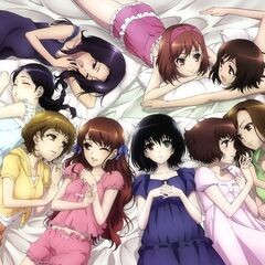 A group shot of all the girls in their night clothes. Yumi is in the top right, talking to Matsuko for some reason.