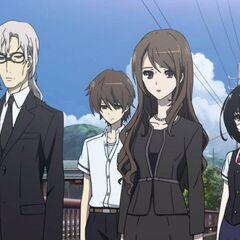 Chibiki with Mei, Kouichi, and his fellow teacher, Mikami.