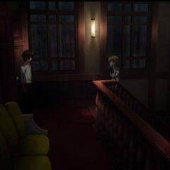 Kouichi confronts Takako in the stairwell.