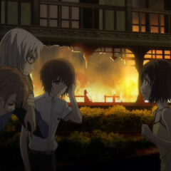 Matsuko meets Naoya and Yuuya at the car, the trio taking a moment to savor being alive.
