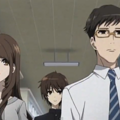 Mikami-sensai and Kubodera-sensei escort Kouichi into his first day of school.