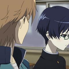 Tomohiko and Naoya talk in class.