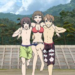 Having endured one too many scowls, Naoya and Yuuya decide to throw Takako in the ocean.