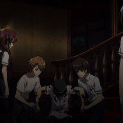 Izumi watches her friends help their injured classmate.