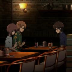Yuuya, Naoya, & Kouichi at the restaurant his sister works at.