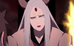 Kaguya sad around Naruto and Sasuke