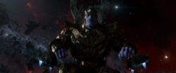 Thanos sitting on his throne
