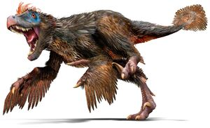 Velociraptor with feathers
