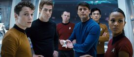 Chekov, Kirk, Scott, Bones, Sulu, Uhura