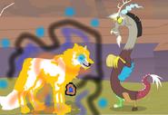 Discordwilczy pokazuje Discordowi magię z innego królestwa by MLPCleo