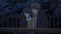 Mai and Sakuta cuddling