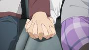 Sakuta and Mai holding hands