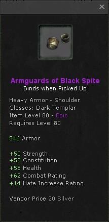 Armguards of black spite